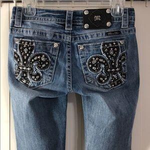 MISS ME Mid-Rise Skinny Jeans Fluer Delis Bling 25